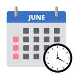 Etiqueta engomada junio del calendario, haciendo frente a la etiqueta engomada de los plazos stock de ilustración