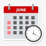 Etiqueta engomada junio del calendario, haciendo frente a la etiqueta engomada de los plazos ilustración del vector
