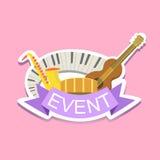 Etiqueta engomada linda de Jazz Concert Event Template Label ilustración del vector