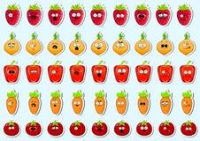Etiqueta engomada linda de la cara del carácter de las verduras de la historieta fotografía de archivo libre de regalías