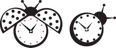 Etiqueta engomada linda de la mariquita del reloj de pared. Fotografía de archivo libre de regalías