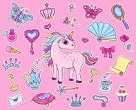 Etiqueta engomada linda de la princesa fijada con unicornio Imagen de archivo