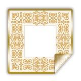 Etiqueta engomada/marco ilustrados de oro Foto de archivo libre de regalías