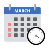 Etiqueta engomada marzo del calendario, haciendo frente a la etiqueta engomada de los plazos ilustración del vector