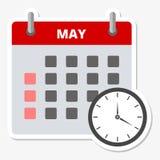Etiqueta engomada mayo del calendario, haciendo frente a la etiqueta engomada de los plazos stock de ilustración