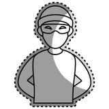 Etiqueta engomada monocromática del contorno con el pirata informático criminal libre illustration