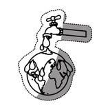 etiqueta engomada monocromática del contorno con el watertap con la contaminación de la tierra con la lluvia del petróleo Imagen de archivo