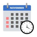 Etiqueta engomada noviembre del calendario, haciendo frente a la etiqueta engomada de los plazos ilustración del vector