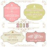 Etiqueta engomada o etiqueta del vintage para la celebración del Año Nuevo y de la Navidad Fotografía de archivo libre de regalías