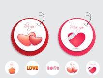 Etiqueta engomada o etiqueta elegante para la celebración del día de tarjetas del día de San Valentín Imagen de archivo
