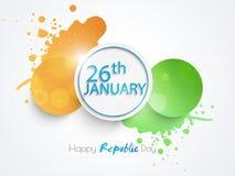 Etiqueta engomada o etiqueta india feliz de la celebración del día de la república Fotos de archivo libres de regalías