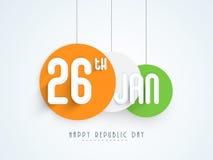 Etiqueta engomada o etiqueta india feliz de la celebración del día de la república Foto de archivo