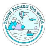Etiqueta engomada o etiqueta para el viaje y el viaje Imágenes de archivo libres de regalías