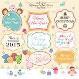 Etiqueta engomada o etiqueta por Año Nuevo, la Navidad y el año chino de goa Fotografía de archivo libre de regalías