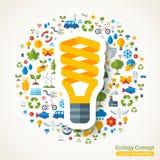 Etiqueta engomada plana del símbolo ahorro de energía de la bombilla Fotos de archivo