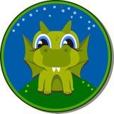 Etiqueta engomada que vuela el dragón verde para la guardería Fotos de archivo libres de regalías