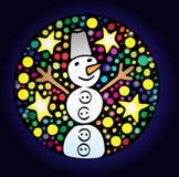 Etiqueta engomada redonda colorida con el muñeco de nieve y la estrella Stock de ilustración