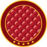 Etiqueta engomada redonda con la tela de tapicería. Imagen de archivo libre de regalías