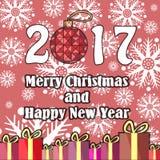 Etiqueta engomada redonda del vector para los días de fiesta en un estilo plano Árbol de navidad, cajas con los regalos y letras  Foto de archivo libre de regalías