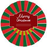 Etiqueta engomada redonda en el regalo de la Navidad Fotografía de archivo libre de regalías