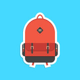 Etiqueta engomada roja de la mochila con la sombra Imágenes de archivo libres de regalías