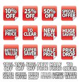 Etiqueta engomada roja del precio imágenes de archivo libres de regalías
