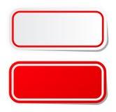 Etiqueta engomada roja en blanco Imagenes de archivo
