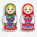Etiqueta engomada rusa de la muñeca Foto de archivo libre de regalías