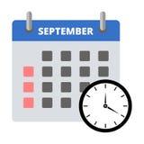 Etiqueta engomada septiembre del calendario, haciendo frente a la etiqueta engomada de los plazos libre illustration
