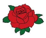 Etiqueta engomada simple del remiendo de la rosa del rojo con el movimiento negro Muestra del icono de la flor Ilustración del ve Foto de archivo libre de regalías
