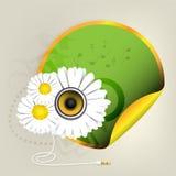 Etiqueta engomada verde con las flores Imagen de archivo