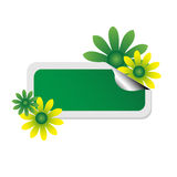 Etiqueta engomada verde con las flores Fotografía de archivo