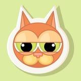 Etiqueta engomada volumétrica con el gato representado Emoción de la culpabilidad libre illustration