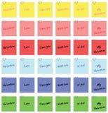 Etiqueta engomada y clip de papel Fotos de archivo libres de regalías