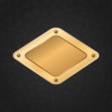 Etiqueta enmarcada de oro del vector en un cuero Fotos de archivo