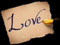 Etiqueta escrita à mão do amor Fotografia de Stock Royalty Free