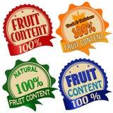Etiqueta, etiqueta engomada o sellos promocionales para el contenido de la fruta del ciento por ciento Fotografía de archivo libre de regalías