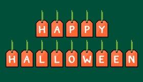 Etiqueta feliz de Dia das Bruxas no fundo verde Imagem de Stock Royalty Free