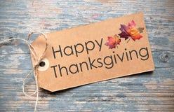 Etiqueta feliz de la acción de gracias