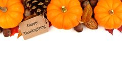 Etiqueta feliz de la acción de gracias con la frontera del top del otoño sobre blanco Fotos de archivo