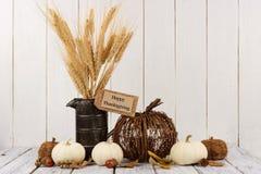 Etiqueta feliz de la acción de gracias con la decoración contra la madera blanca Foto de archivo libre de regalías