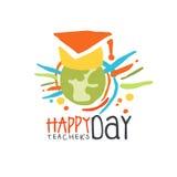 Etiqueta feliz del día de los profesores, de nuevo al ejemplo dibujado mano colorida del vector de la escuela Foto de archivo libre de regalías