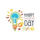 Etiqueta feliz del día de los profesores, de nuevo al ejemplo dibujado mano colorida gráfica del vector de la plantilla del logot Foto de archivo
