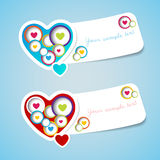 A etiqueta feliz do cumprimento do amor do dia de Valentim com papel cortou o estilo Imagens de Stock