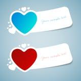 A etiqueta feliz do cumprimento do amor do dia de Valentim com papel cortou o estilo Fotografia de Stock
