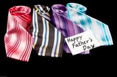 Etiqueta feliz do dia de pais com gravatas Fotos de Stock Royalty Free
