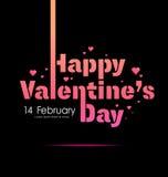 Etiqueta feliz do dia de Valentim, sinal, tipografia no fundo do preto do teste padrão do coração, o 14 de fevereiro, vetor Foto de Stock
