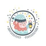 Etiqueta feminino do caráter do conto de fadas do gnomo no quadro redondo Imagem de Stock Royalty Free