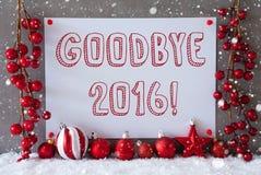 Etiqueta, flocos de neve, bolas do Natal, texto adeus 2016 Fotos de Stock Royalty Free