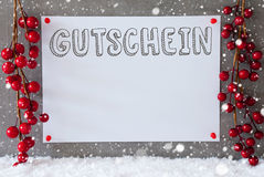 A etiqueta, flocos de neve, decoração do Natal, Gutschein significa o comprovante Imagens de Stock